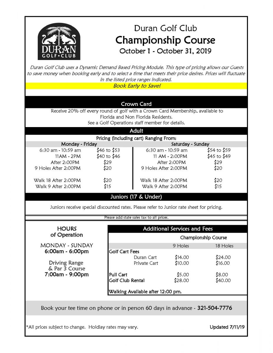 Rate Sheet for October 1 - 31, 2019.